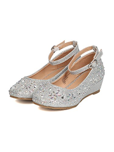 Girls Angel Glitter Little Rhinestone Silver Wedge PTBwq7n