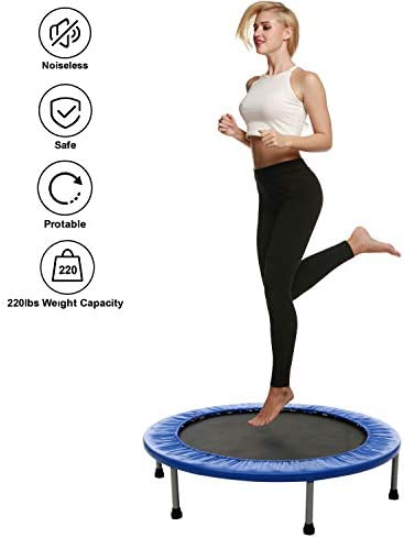 Binxin Rebounder Mini Trampoline Fitness Trampolines Indoor for Adults Kids with Padded Frame Cover, Max Load 220lbs US Stock