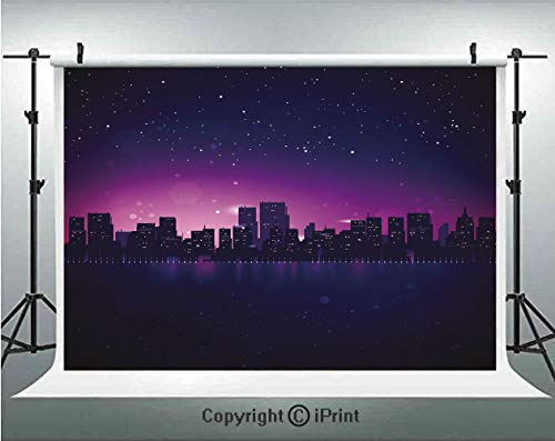Night Photography Backdrops City Skyline Silhouette Skyscrapers Abstract Graphic Architecture Urban Life,Birthday Party Background Customized Microfiber Photo Studio Props,8x8ft,Indigo Light Pink