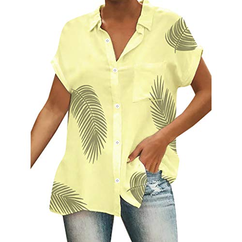 ℱLOVESOOℱ Women Casual Button Down Blouse Shirts Boho Printed Beach Loose V-Collar Short Sleeve Weekend Holiday Shirts Tops Yellow]()
