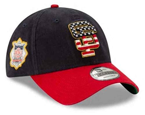 New Era 2019 MLB San Francisco Giants July 4th Flag Logo Baseball Cap Hat Adjust Navy/Red (San Fran Giants Cap)