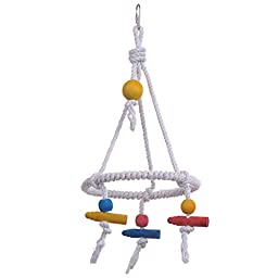 Yunt Pet Bird Parrot Parakeet Budgie Cockatiel Cage Hammock Swing Toy Cotton Rope Tri Toy Hanging Toy