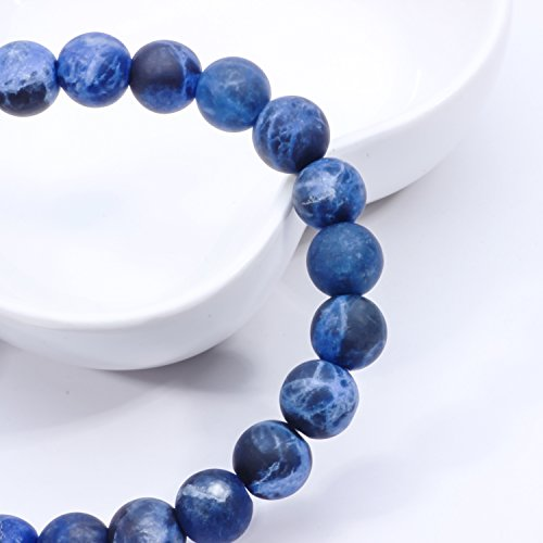 MetJakt Natural 8mm Gemstones Healing Crystal Stretch Beads Bracelet Bangle 925 Silver Double Happiness Pendant (Sodalite) by MetJakt (Image #2)