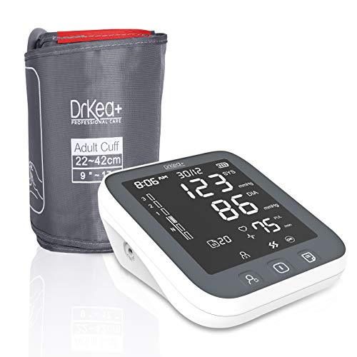 Blood Pressure Monitor Upper Arm Large Cuff - Fully Automatic Blood Pressure Machine with LED Backlight - Accurate BP Monitors Kit - 2 Users, 99 Memory, Batteries Included