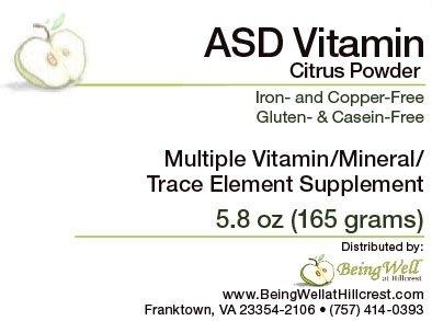ASD Citrus Flavor Vitamin Powder for Children with Autism Spectrum Disorder Multiple Vitamin/mineral/trace Element Supplement- 5.8 oz