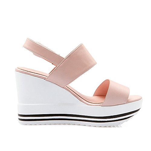 Material Soft Hook Heels Sandals Toe Loop High Pink AmoonyFashion Womens Open Solid and Efq5Rpqgw