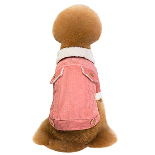 Dasior Pets Thicken Fleece Lined Dogs Jackets Apparel Warm Cold Weather Lapel Coats Outfits L Pink - Fleece Lined Corduroy Dog Coat