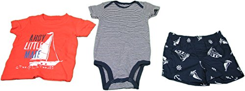 Carters Boys 6 Months 3-Piece Ship Short Set Red, White, and Blue ()