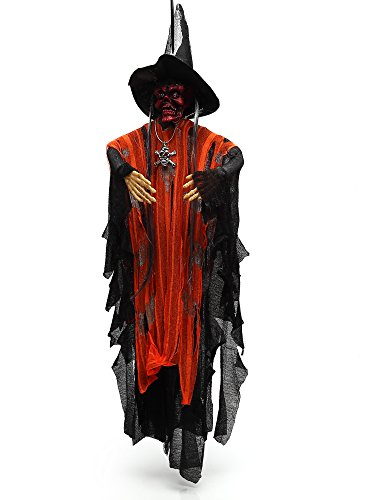Crusar Animated Skeleton Hanging Ghost Voice Activated Scary Spooky Halloween Prop (Halloween Props)