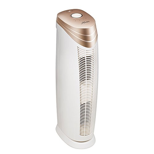 Air Purifier Silver Color - Hunter HT1701 Air Purifier with ViRo-Silver Pre-filter and HEPA+ Filter, for Allergies, Germs, Mold, Dust, Pets, Smoke, Pollen, Odors, for Large Rooms, 27-Inch Rose Gold/White Air Cleaner