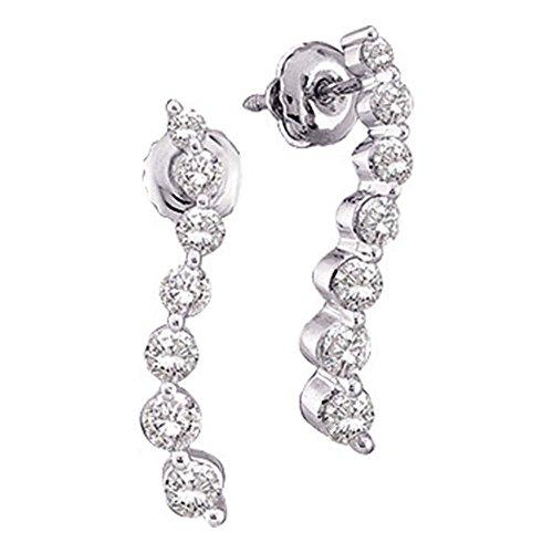 14k White Gold Round 7 Seven Diamond Dangle Twist Journey Earrings (1/4 cttw)