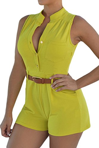 HOTAPEI Women Button leeveless Short Pants Jumpsuit Romper with Belt Small Yellow1