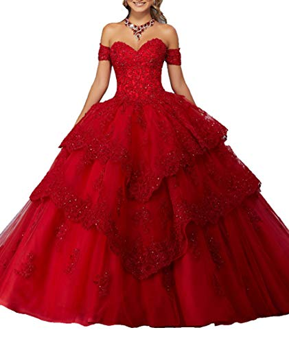 Gown Quinceanera New (MFandy New Sweetheart Girls 16 Quinceanera Dress Appliques Beaded Ball Gowns 6 US Red)