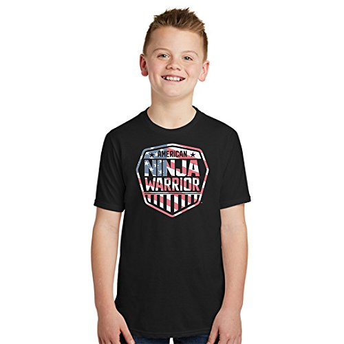 American Ninja Warrior Americana Youth T-Shirt-Black-Small