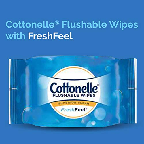 41SAVEOIUSL - Cottonelle FreshCare Flushable Wipes for Adults, Wet Wipes, Alcohol Free, 1 Pack of 42 Wet Wipes
