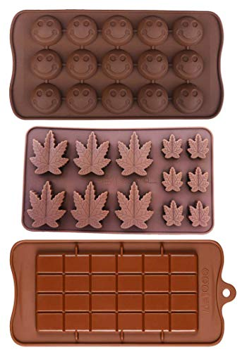 Silicone Lollipop Gummy Brownies Hard Candy Cannabis Weed Edible leaf Mold Ice Cube Marijuana Chocolate Soap Candle Tray Party maker (Brown (Marijuana_Smiley_Bar))