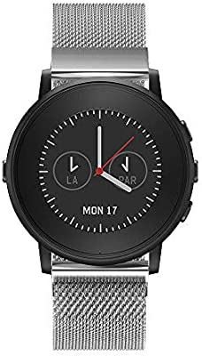 Fit Pebble Time - Correa para reloj inteligente de acero inoxidable con cierre magnético para Pebble Time redondo