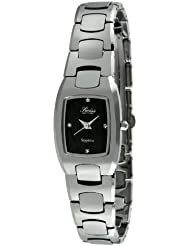 Swiss Edition Womens Luxury Silver Tungsten Carbide Black Dial Dress Watch SE3822L