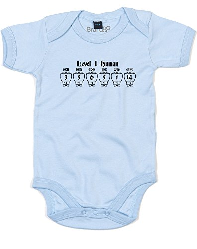 Level 1 Human, Printed Baby Grow - Dusty Blue/Black/Transfer 3-6 - Usa Gif