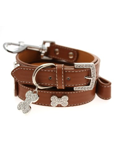 UrbanPup Brown Leather Diamante Collar / Diamante Bone Charm and Leash Set (Small – Dog Neck Circumference, adjusts: 8″ to 11″ / 20cm to 28cm), My Pet Supplies
