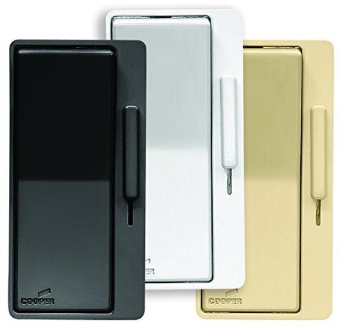 Eaton DAL06P-C4-K AL Series Single Pole/3-Way Decorator Dimmer Switch with Color Change Kit, Black, White, Ivory