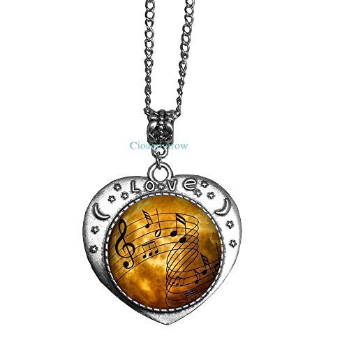 Cioaqpyirow Sheet Music Necklace Musicians Jewelry Music Notes Art Pendant,Music Student Gift,Piano Music,Photo Image -