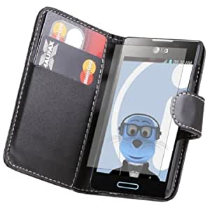 Quaroth iTALKonline LG Optimus L5 E610 PU Leather BLACK Executive Flip Wallet Book Case Cover with Credit / Business Card...