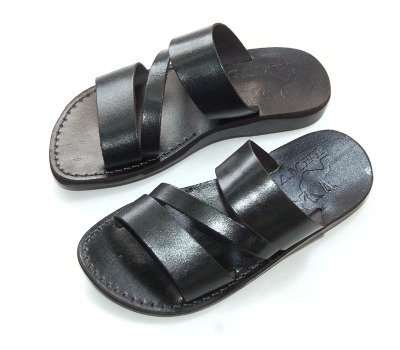 Holy Land Market Unisex Leather Biblical Flip flops (Jesus - Yashua) Nazareth Black Style - EU 43
