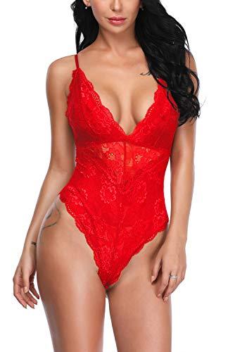 (Aranmei Women Deep V Sexy Lace Bodysuit Sna-p Crotch Lingerie Teddy Underwear (Bright Red, XX-Large))