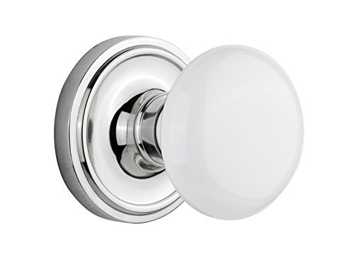 Nostalgic Warehouse Classic Rosette with White Porcelain Door Knob, Privacy - 2.375, Bright Chrome by Nostalgic Warehouse