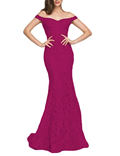 (YSMei Women's Off Shoulder Beads Wedding Celebrity Dress Long Mermaid Formal Gown Fuchsia 6 )