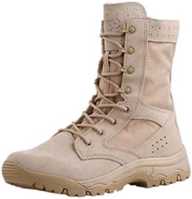 砂漠の戦闘ブーツ快適なナイロンハイヘルプレースアップスタイル登山靴の滑り止め耐摩耗クッションDurablerubberソール (色 : ベージュ, サイズ : 26 CM)