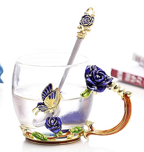 Flower Glass Tea Mug 11oz Lead Free Handmade Butterfly and Blue Rose Glass Cup with Handle, Valentine's Day Present Best Friend Wedding Anniversary Birthday Presents for Women Mom Girls Grandma