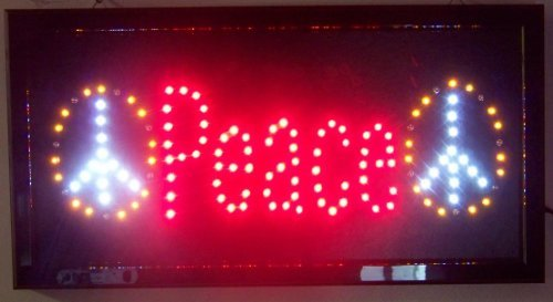 LED Lighted Peace Hippies Sign 3D Neon Wall Art
