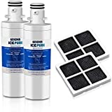 GOLDEN ICEPURE Refrigerator Water Filter, Compatible with LG LT1000P, MDJ64844601,LT1000PC, ADQ74793501, ADQ74793502, Kenmore 46-9980, 9980 Water Filter and Air Filter LT120F Combo (2-Pack)
