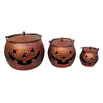 Sunset Vista Designs HW1312C 3 Piece Decorative Copper Finish Pumpkin Cauldrons Set : Garden & Outdoor