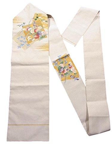 マキシム掃く申し込むリサイクル 名古屋帯 爪綴れ 八寸 色紙に秋草文 正絹