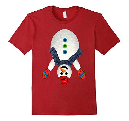 Mens Naughty Upside Down Snowman Ugly Christmas Couples T-Shirt Large (Tacky Christmas Outfits)