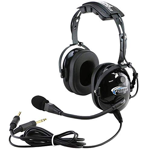 Rugged Air RA200 General Aviation Pilot Headset with Noise Reduction, GA Dual Plugs & MP3 Music Input