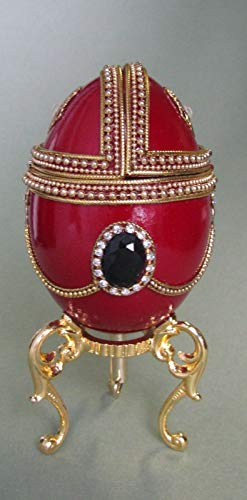 - Enameled Hand Painted Faberge Egg Style Decorative Hinged Jewelry Trinket Box Unique Gift Home Decor, Authentic Goose Egg, Music Box,Over The Rainbow, Red,Kingspoint Design #30635