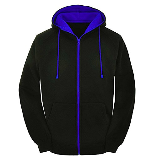Mens Contrast varsity retro zip up hoodie Unisex hooded sweatshirt zipper jacket