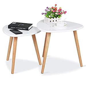 Topeakmart Set Of 2 Modern White Gloss Triangle Top Nesting Tables Living  Room Side End Tables Set