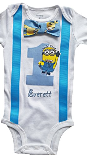 Minion Outfit Kids (Baby Boys 1st Birthday Outfit Minions Bodysuit - Personalized)