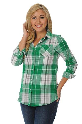 UG Apparel NCAA Marshall Thundering Herd Women's Boyfriend Plaid Shirt, Small, Kelly Green/Black/White - Marshall Thundering Herd Pocket