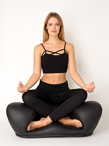 Alexia Meditation Seat 'Ergonimically Correct for the Human Physiology' Zen Yoga Chair for Home or Office (Black, Leather)
