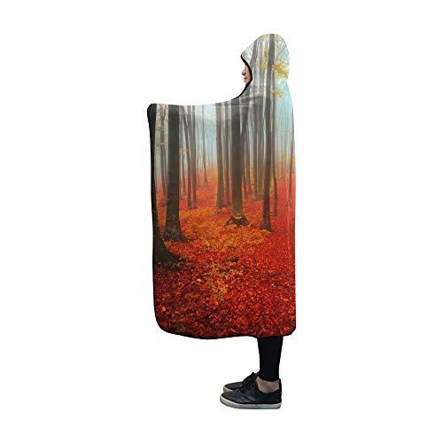 JOCHUAN Manta con Capucha Dia de otono en el Bosque Manta de 60x50 Pulgadas Comfotable Abrigo de Tiro con Capucha