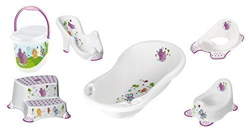 Baby Bath Set, 6 Piece Z Hippo White XXL Bathtub + Bath Seat + .