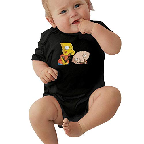 LiuYeWen Bart Simpson Limited Edition Baby Clothes Popular Black 2T -