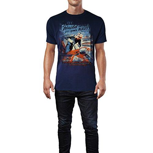 SINUS ART® Build for Your Navy Herren T-Shirts stilvolles dunkelblaues Navy Fun Shirt mit tollen Aufdruck