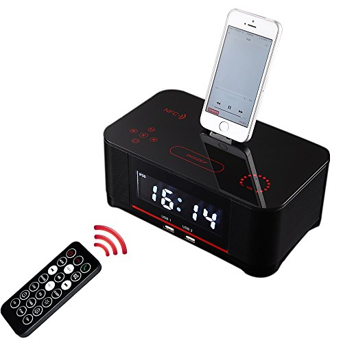 Ipod Touch Alarm Clock (PowMax WW-47 Digital Dual Alarm FM Clock with Radio Bluetooth 4.0 Speaker, Battery Backup, Snooze and Sleep Timer, Large Display, NFC Compatibility, Lightning Dock for Iphone/Ipad/Ipod---Black)